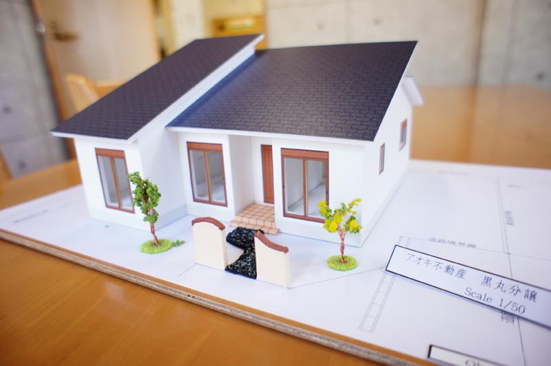 模型です。アオキ不動産事務所にありますよ。(実物は門扉、樹木は付きません)